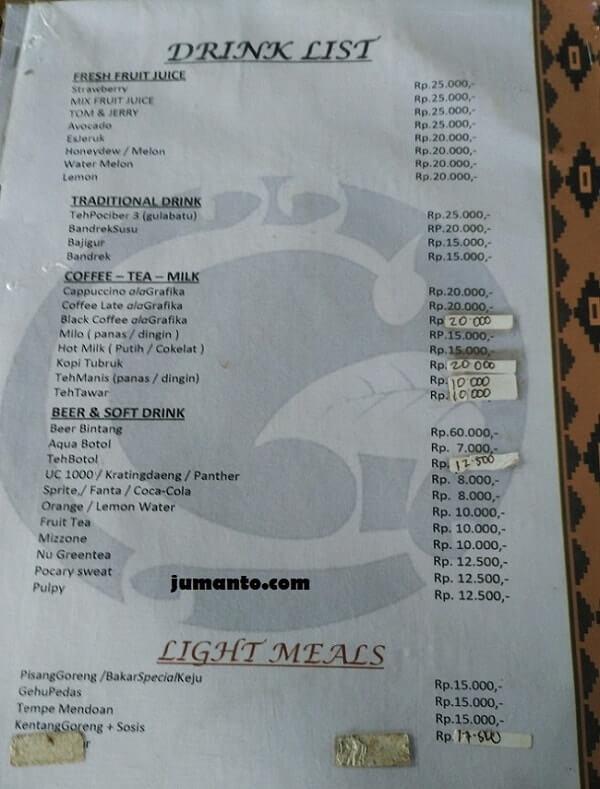 menu makanan grafika cikole lembang