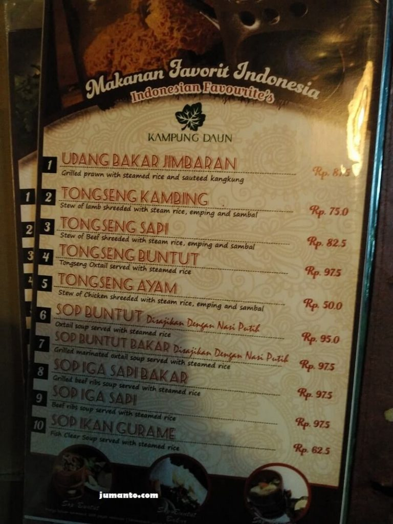 daftar harga makanan di kampung daun bandung