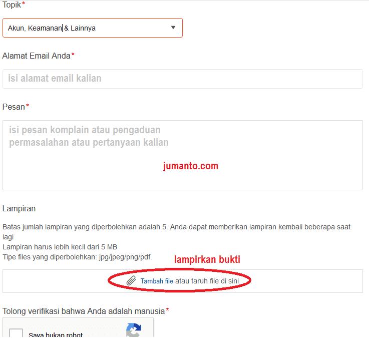 kirim email ke shopee