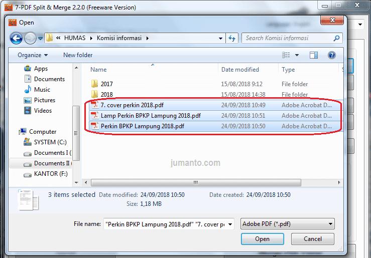 cara menggabungkan beberapa file pdf secara offline