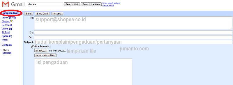 cara mengirim email ke shopee dan alamatnya