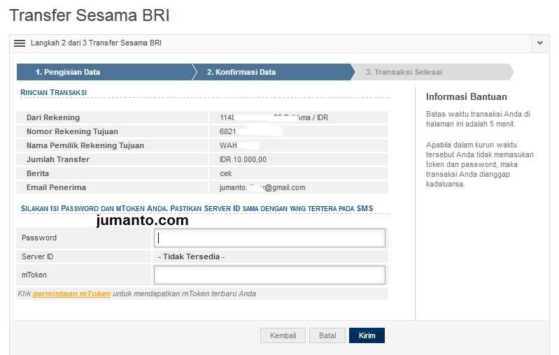 cara transfer uang via internet banking bri