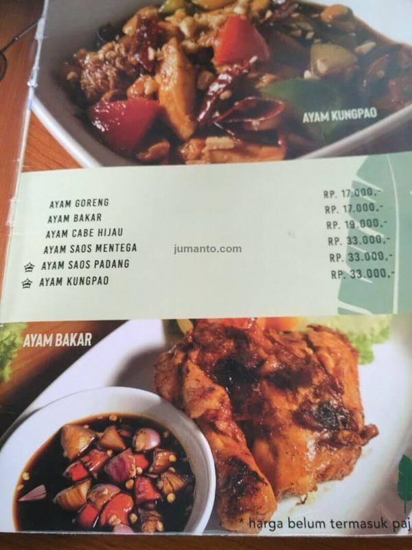 foto daftar menu makanan di kinar resto bandar lampung