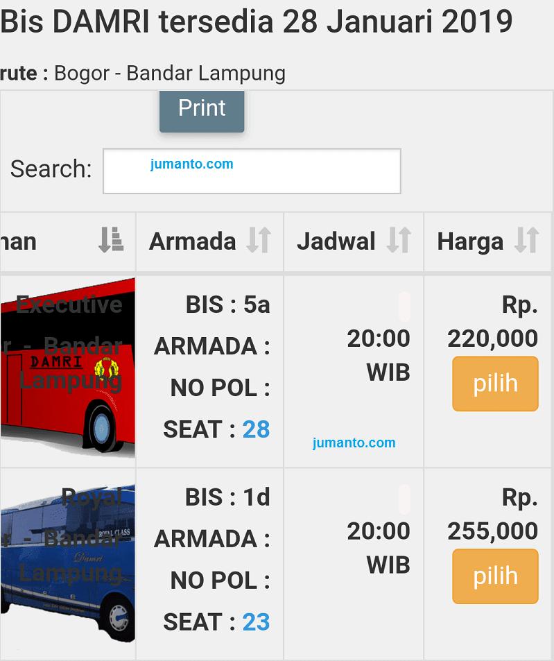 info bus damri Bogor Lampung harga jadwal pool nomor telepon