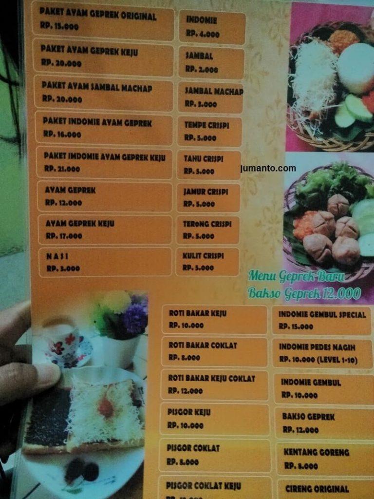 daftar harga dan menu ayam geprek babe gembul kemiling bandar lampung