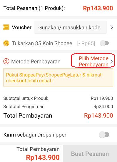 pilih metode pembayaran di shopee
