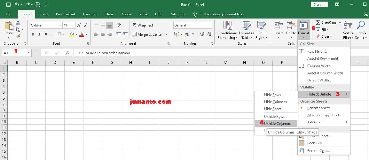 Cara Unhide Kolom A Di Excel Yang Hilang atau Tidak Muncul Dengan Cepat