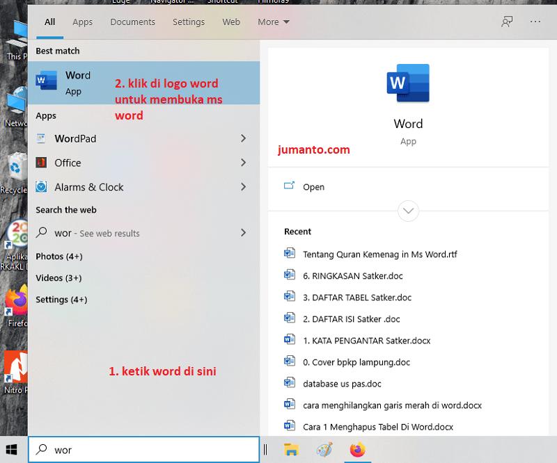 langkah pertama kali membuka microsoft word di komputer