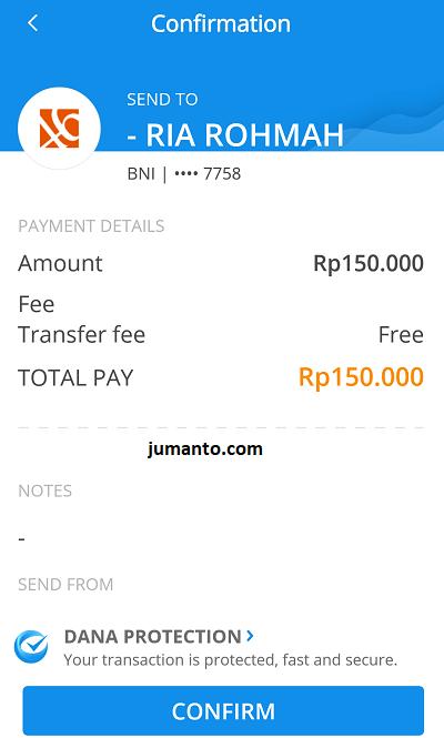 konfirmasi transfer dari aplikasi dana ke rekening bank bni
