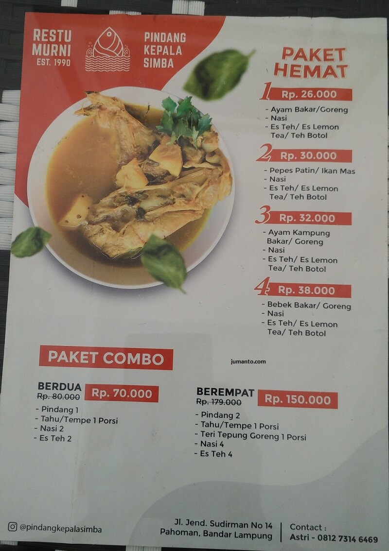 menu makanan di warung pindang kepala simba restu murni