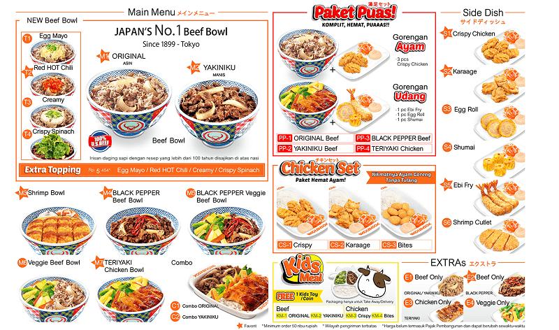 menu makanan di yoshinoya indonesia