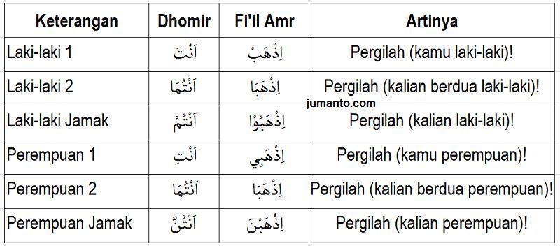 Tabel Tasrif Fi'il Amar Lengkap Berdasarkan Dhomirnya (Lughowi) Dan Contoh