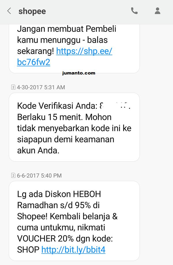 contoh nomor sms resmi dari pt shopee indonesia