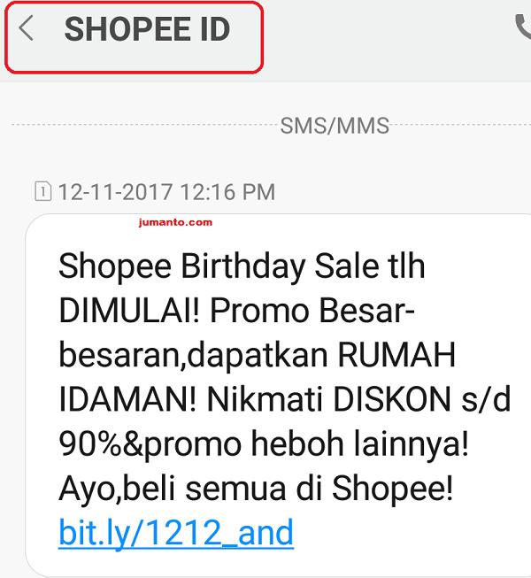 contoh sms resmi dari shopee indonesia
