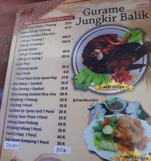 daftar harga dan menu larise cafe lampung 6