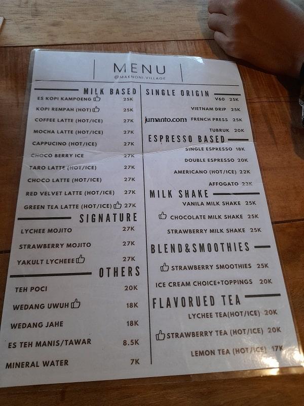 daftar menu dan harga minuman di maknoni village lampung