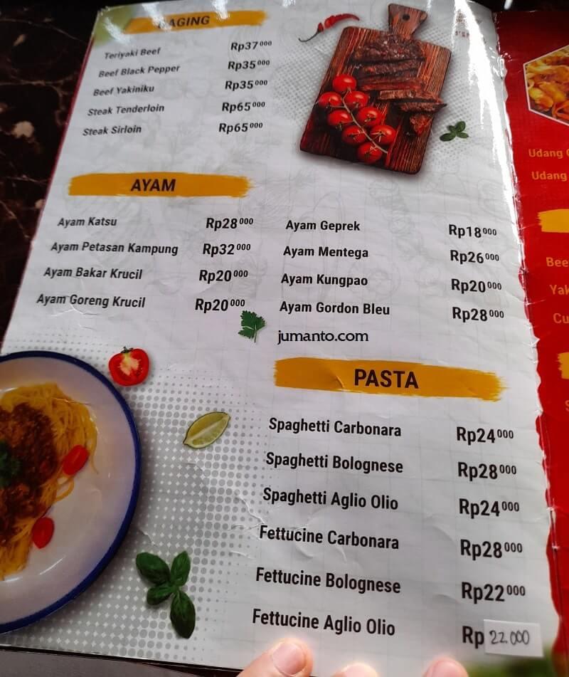 Daftar Menu dan Harga D'Krucil Cafe & Resto Lampung (2)