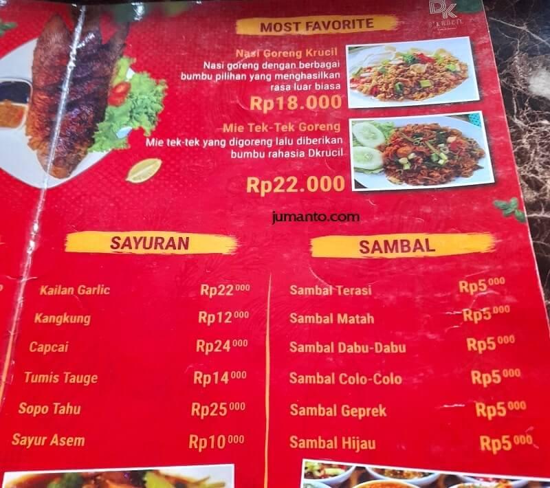 Daftar Menu dan Harga D'Krucil Cafe & Resto Lampung (3)
