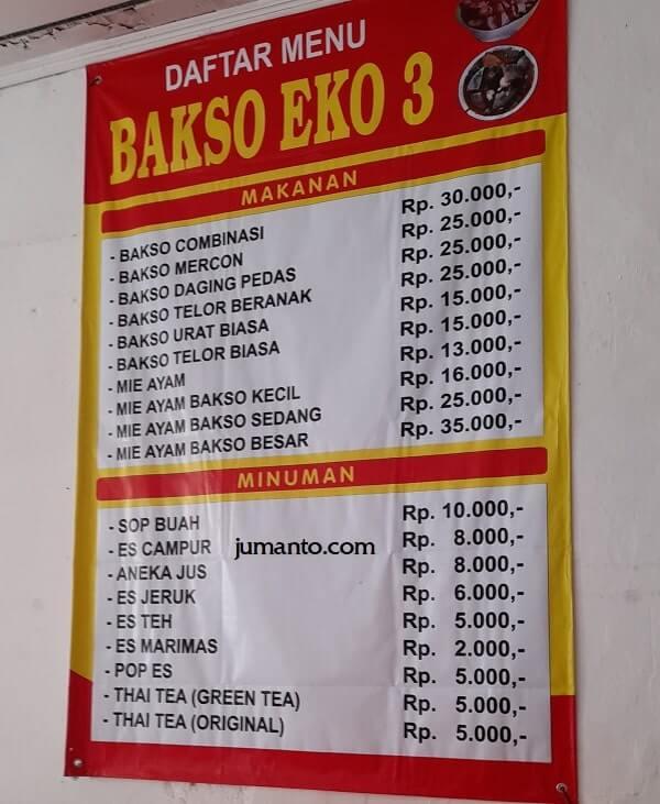 daftar menu dan harga bakso eko lampung