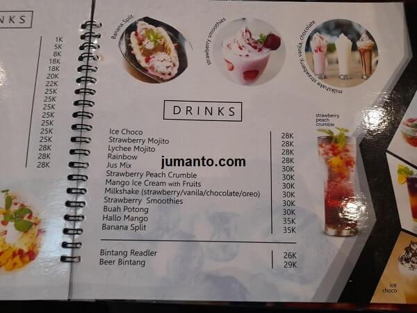 harga dan Menu minuman kekinian di Ikisopoto Cafe bandar lampung