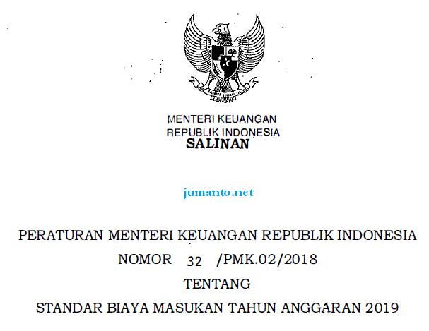 standar biaya masukan 2019