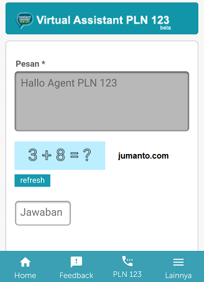 chat dengan cs pln via mobile