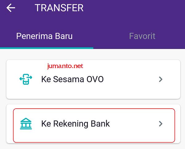 cara transfer dari ovo ke rekening bank