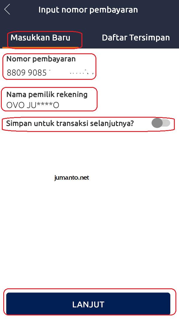 input nomor pembayaran briva dan simpan
