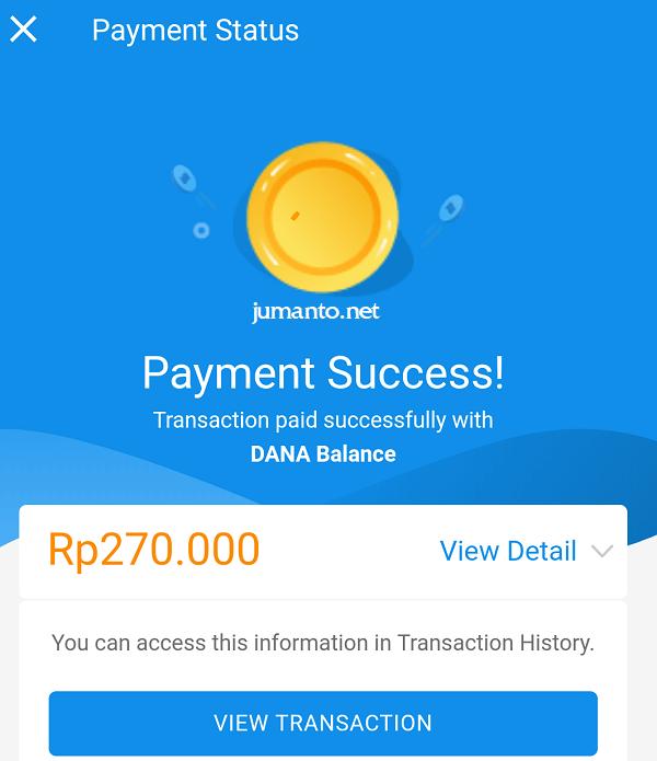 isi saldo dana lewat aplikasi DANA berhasil