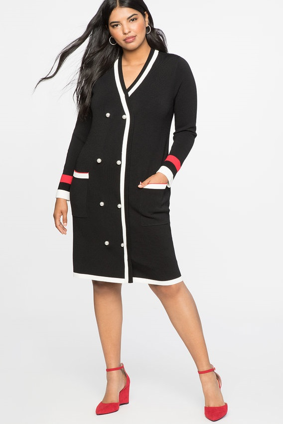 052aeb7086f Black and White Plus Size Cardigan Sweater Dress - A classic silhouette  with feminine and polished