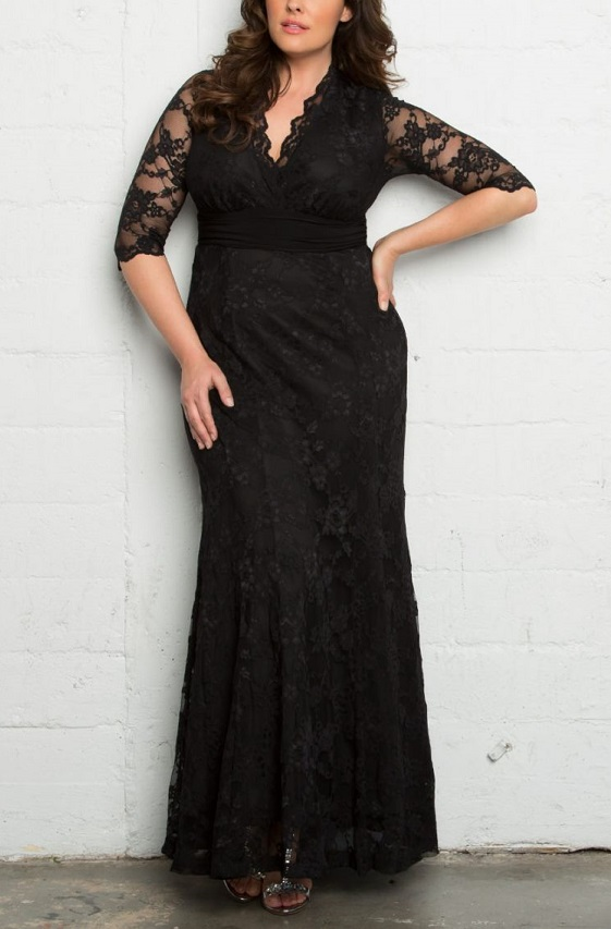 c856e12f4e3 Plus Size Black Lace Maxi Evening Gown - This elegant fit and flare evening  maxi dress