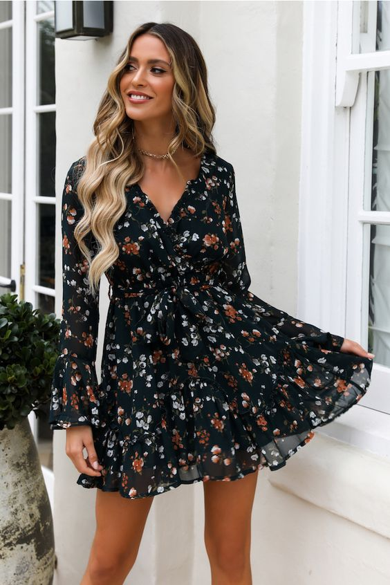 62592ab0500f0 Black Floral Print Long Sleeve Summer Dress   The best part of summer is  being able to wear these super cute black floral print mini dresses with  long ...