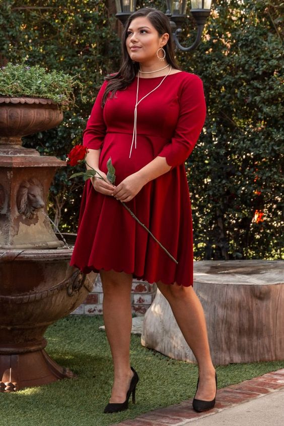 a442fb84c3e07 Burgundy Solid Scalloped Hemline Plus Size Maternity Dress for Baby Shower    A solid plus size