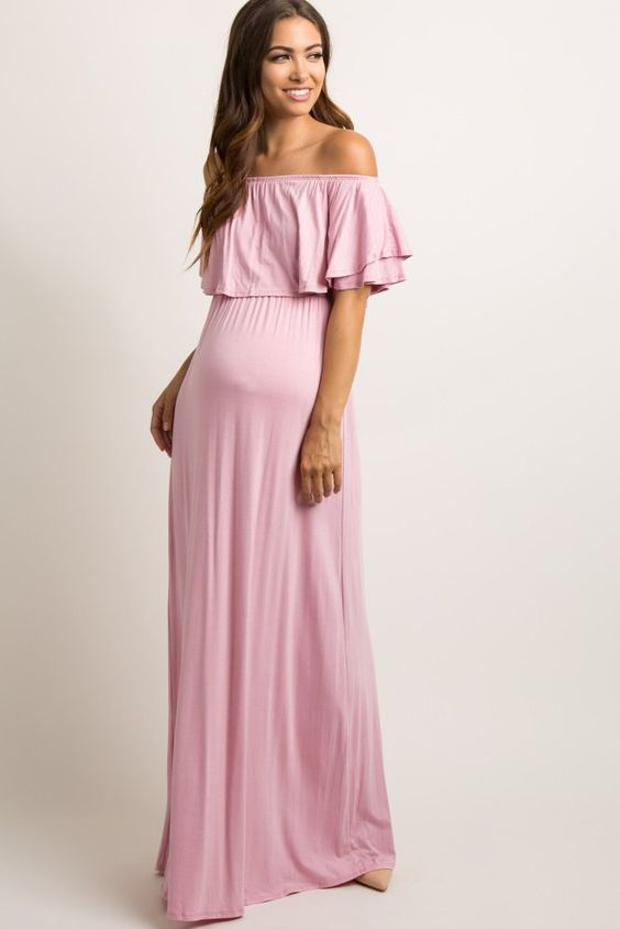dada8c93fd2 Pink Maternity Dress for Baby Shower - Style The Bump Pink Maxi ...