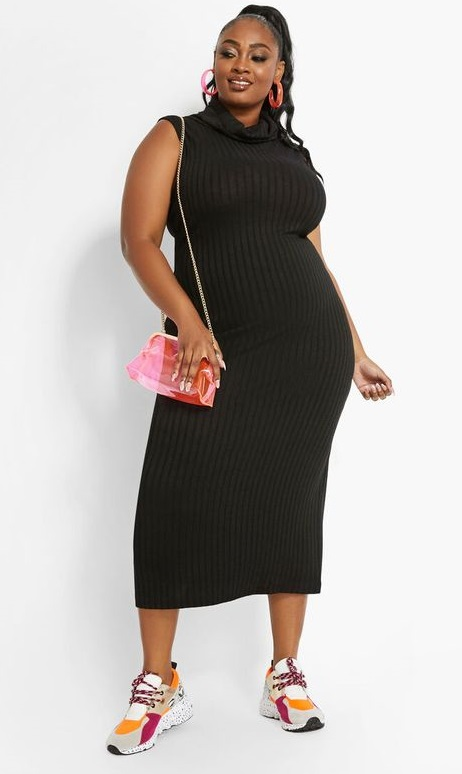 Plus Size Black Sweater Dresses for Women -