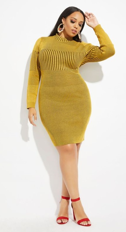 Plus Size Bodycon Sweater Dresses In Body Contouring Styles -