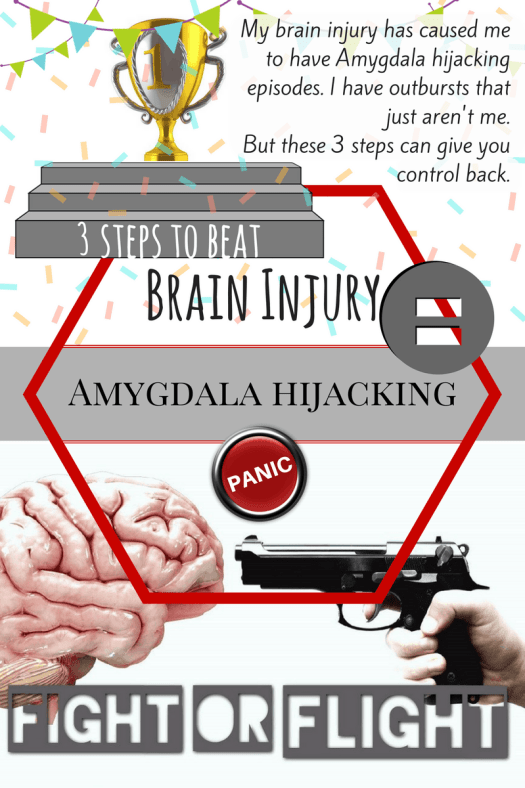 My brain injury has caused me to have Amygdala hijacking episodes. I have outbursts that just aren't me. But these 3 steps can give you control back.