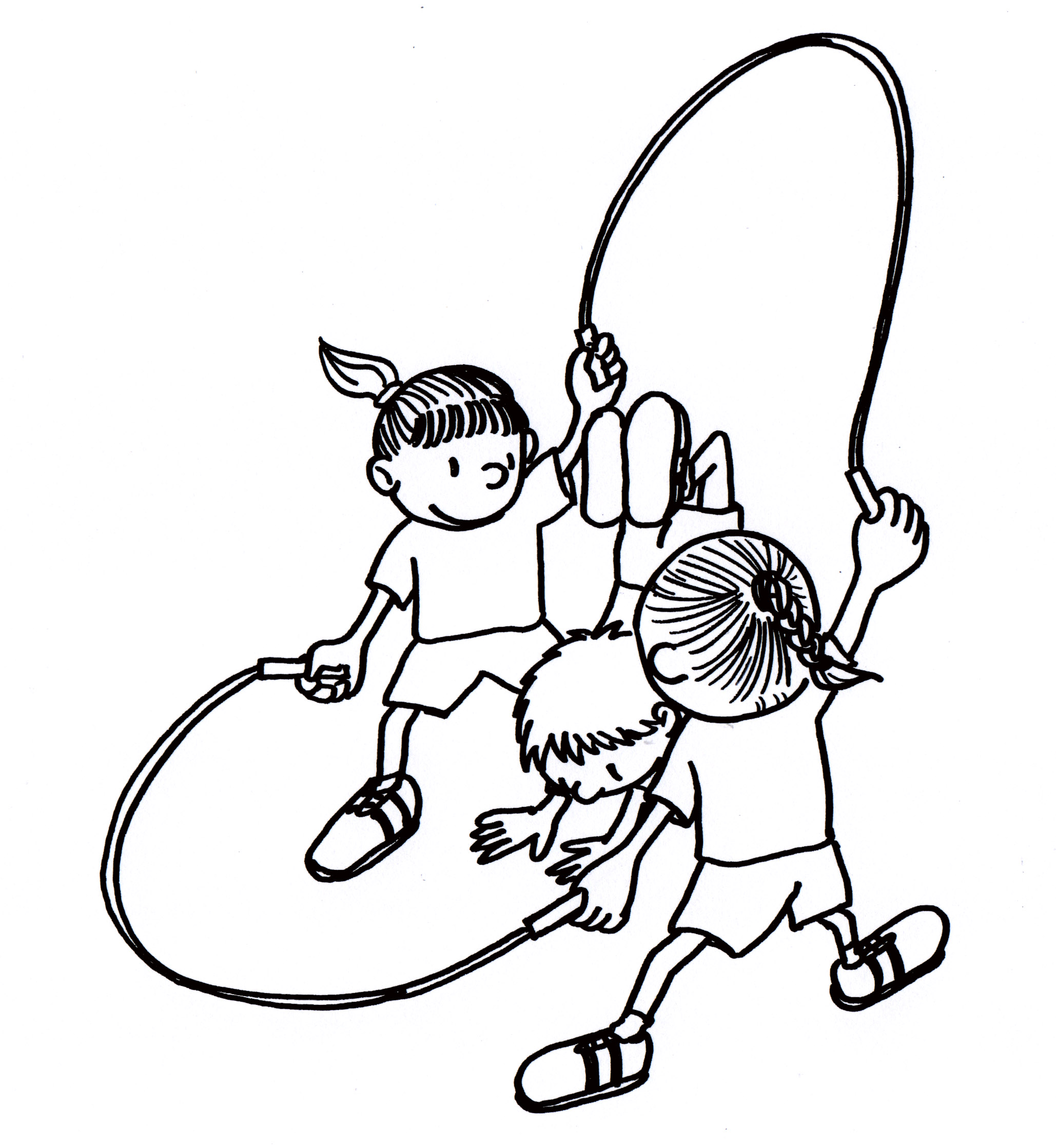 Double Dutch Jump Rope Sketch Coloring Page