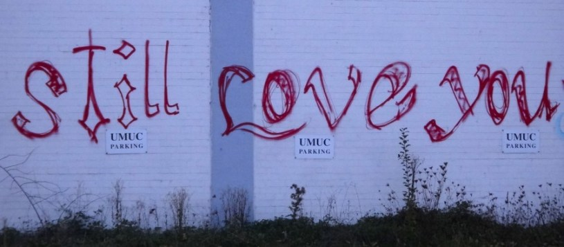 "Graffiti an einer Hallenwand in Heidelberg, die Schrift ""Still love you"""
