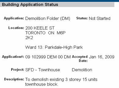 demo permit application screen shot 200 Keele ST.