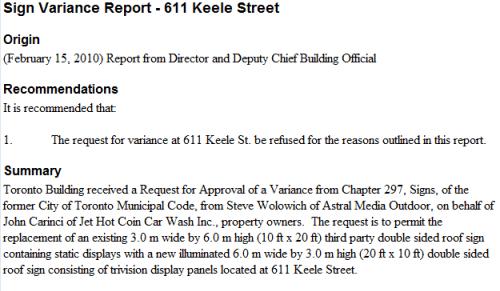 Sign Variance Report - 611 Keele Street