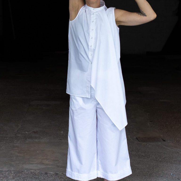 White asymmetric blouse by June9Concept