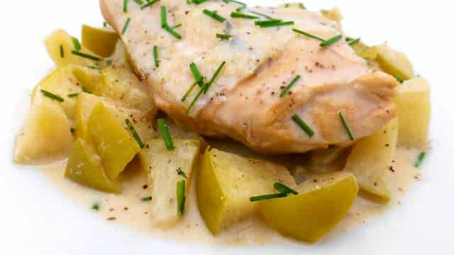 French apple cider chicken: this one is a great chicken dinner. How I like the fresh apple flavor and the calvados in this cream sauce.