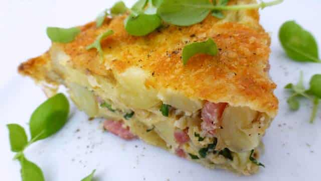 This bacon frittata is a wonderful way to use those leftover cooked potatoes and turn it into another great dinner! Dig in...