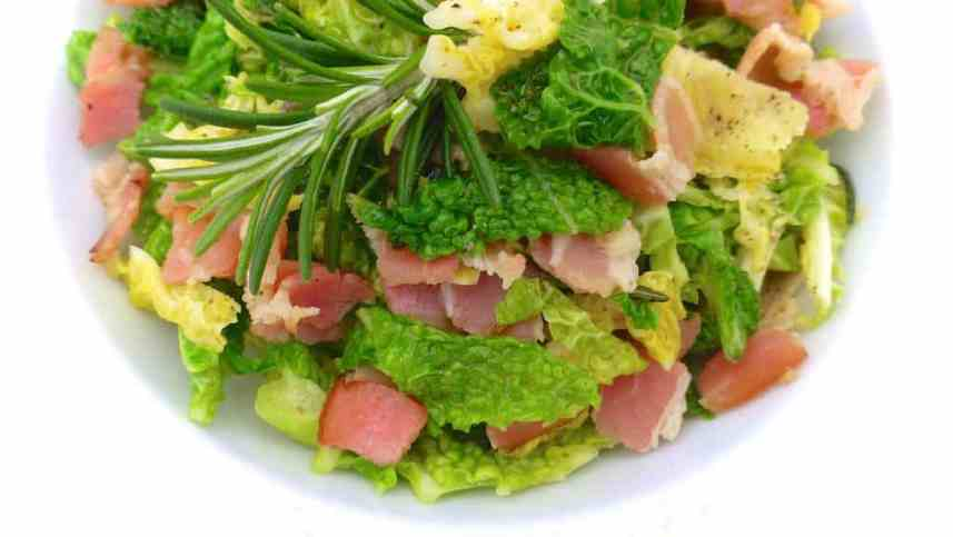 Classic stir fried cabbage and bacon, another delicious hearty winter dish and a perfect side for game or red meat in general!