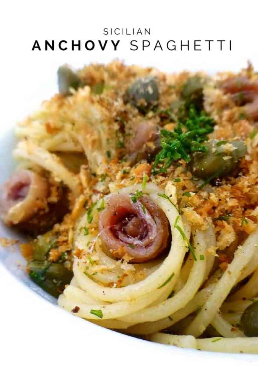 A delicious Sicilian anchovy spaghetti recipe, a surprisingly simple spaghetti recipe with salted anchovies and breadcrumbs.
