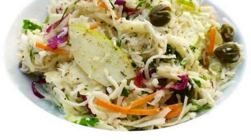 My creamy celeriac remoulade: sometimes called a French coleslaw, it's an easy side dish for red meat! Do you like celery root?