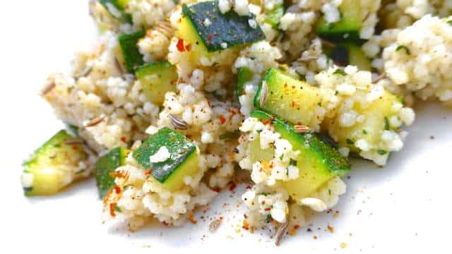 Moroccan Couscous Salad with crunchy zucchini, lemon juice, cinnamon and fresh parsley... A great side dish for pork chops, chicken or lamb!