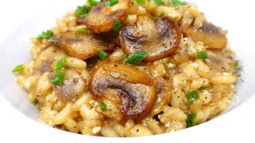 My beer and mushroom risotto recipe: the mushrooms, beer and parmesan cheese make this risotto extremely flavorful! That says enough I guess...
