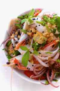 Rice noodles and seafood in a zesty sweet lime marinade, this Thai seafood noodle salad is the perfect summer lunch salad!